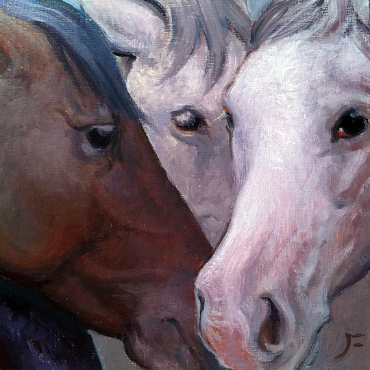 Taos Broncs / Oil on Panel / 6 x 6 Inches / ©John Farnsworth