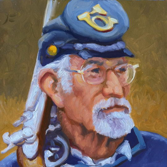 Civil War Reenactor / Oil on Panel / 6 x 6 Inches / ©John Farnsworth
