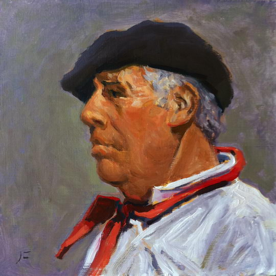 GAUCHO IN BLACK BERET (BOINA) / Oil on Panel / 6 x 6 Inches / ©John Farnsworth
