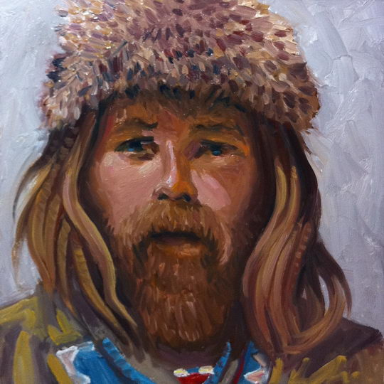 Mountain Man / Oil on Panel / 6 x 6 Inches / ©John Farnsworth
