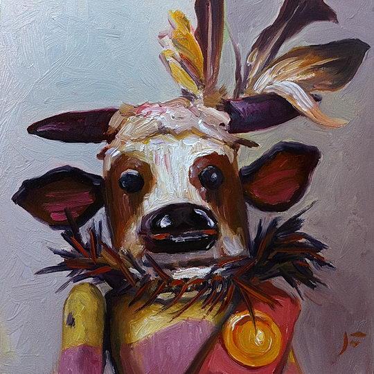 Zuñi Wakas (Cow) Kachina / Oil on Panel / 6 x 6 Inches / ©John Farnsworth