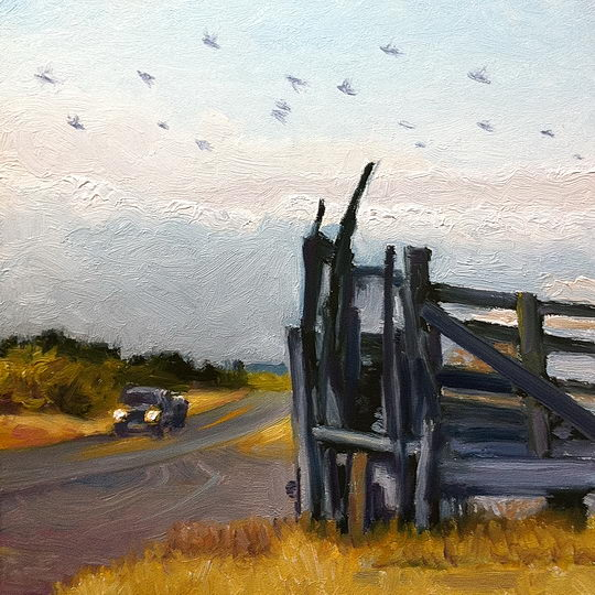 Ravens to Roost / Oil on Panel / 6 x 6 Inches / ©John Farnsworth