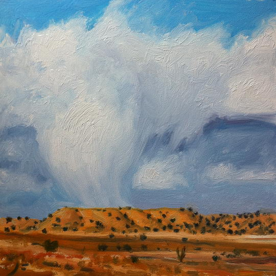 Sandhills and Rain / Oil on Panel / 6 x 6 Inches / ©John Farnsworth