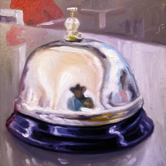 Front Desk Bell Self Portrait / Oil on Panel / 6 x 6 Inches / ©John Farnsworth