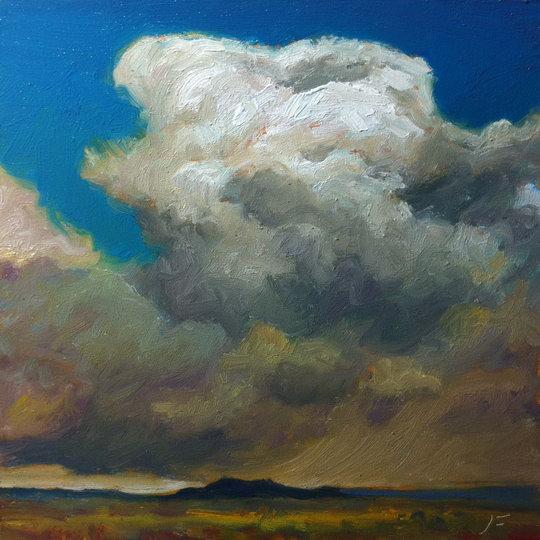 HIGH DESERT STORM / Oil on Panel / 6 x 6 Inches / ©John Farnsworth