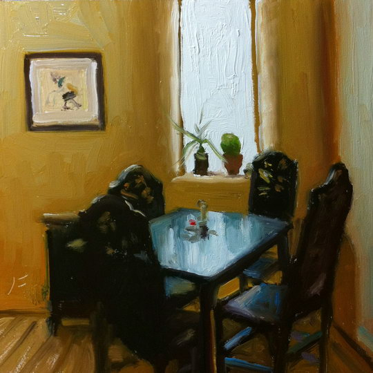 MISSION CAFE / Oil on Panel / 6 x 6 Inches / ©John Farnsworth