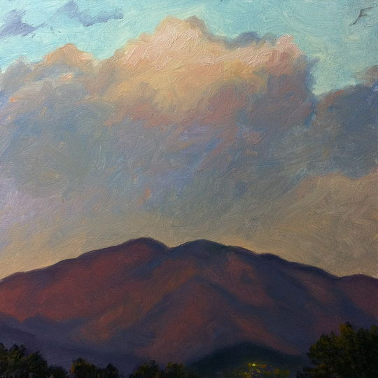 SUNDOWN OVER SANTA FE / Oil on Panel / 6 x 6 Inches / ©John Farnsworth