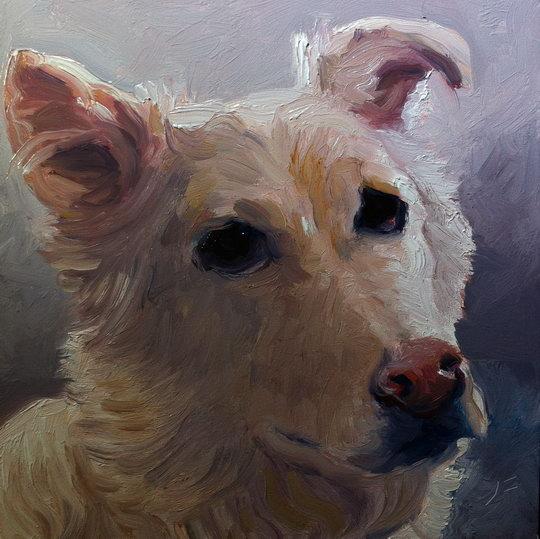 I MET A DOG NAMED HONEY / Oil on Panel / 6 x 6 Inches / ©John Farnsworth