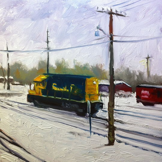 DIESEL IN SNOW / Oil on Panel / 6 x 6 Inches / ©John Farnsworth
