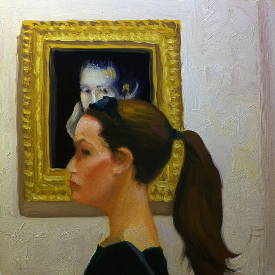 DOUBLE PORTRAIT / Oil on Panel / 6 x 6 Inches / ©John Farnsworth