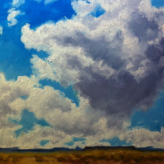 MESA COUNTRY, CLOUD STUDY / Oil on Panel / 6 x 6 Inches / ©John Farnsworth