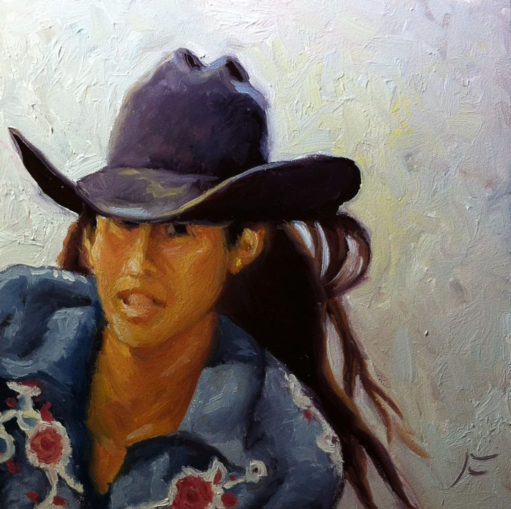RIDE, COWGIRL, RIDE / Oil on Panel / 6 x 6 Inches / ©John Farnsworth