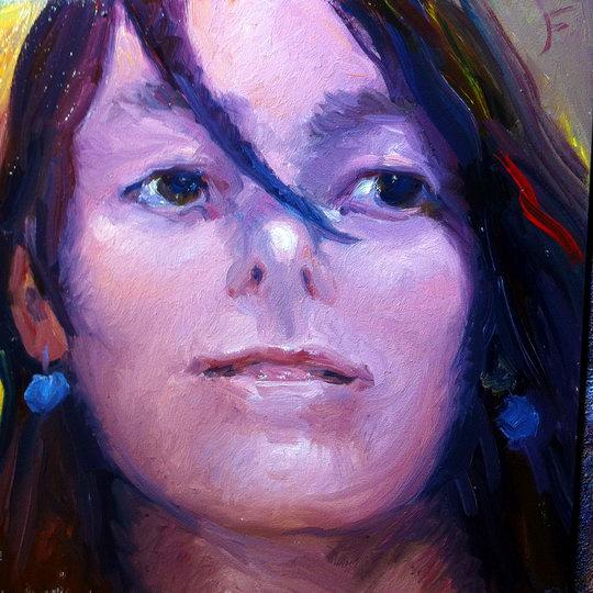 SPANISH GIRL / Oil on Panel / 6 x 6 Inches / ©John Farnsworth