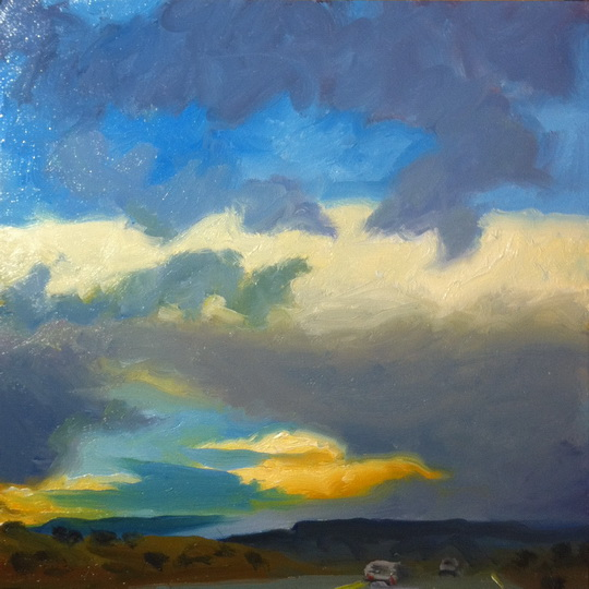 STORM BREAKING UP / Oil on Panel / 6 x 6 Inches / ©John Farnsworth