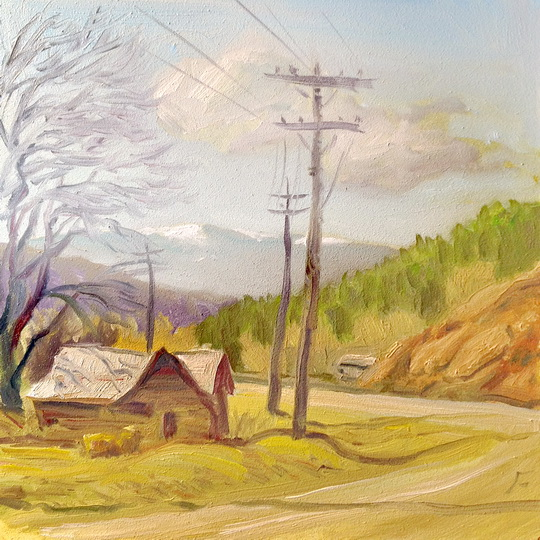 HOUSE ON THE MORA ROAD / 6 x 6 Inches / Oil on Panel / ©John Farnsworth