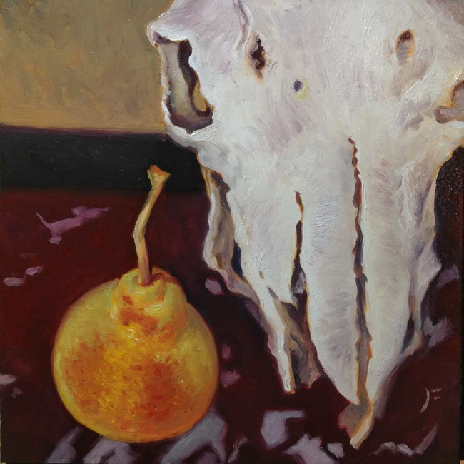 TAOS PEAR ON A MARBLE TABLE WITH A SHEEP SKULL